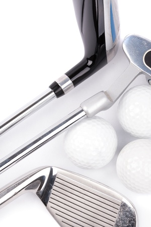 golf club with balls on white background photo