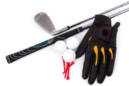 golf glove: Golf Glove Ball tees and club  Stock Photo