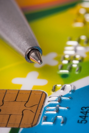 bank records: Credit card and pen close up Stock Photo