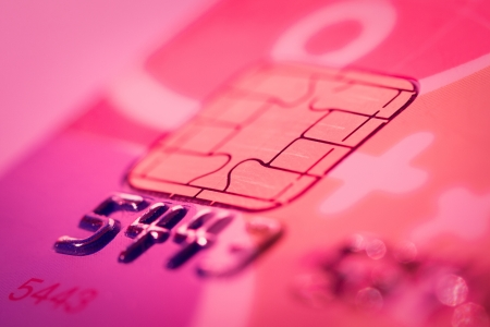 Credit card  close up color red light Stock Photo - 18707555