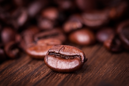 Coffee on grunge wood background