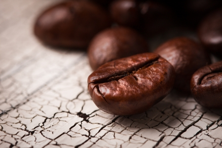 Coffee on grunge wood background