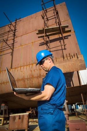 isolators: shipyard workers Stock Photo