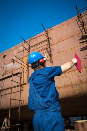 shipyard workers 免版税图像