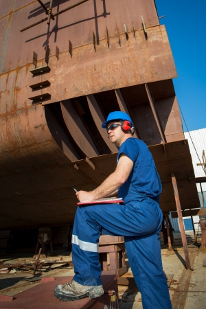 shipbuilder: shipyard workers Stock Photo