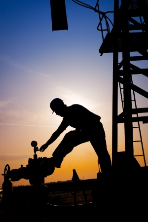 trabajador petroleros: Silueta del trabajador del petr�leo