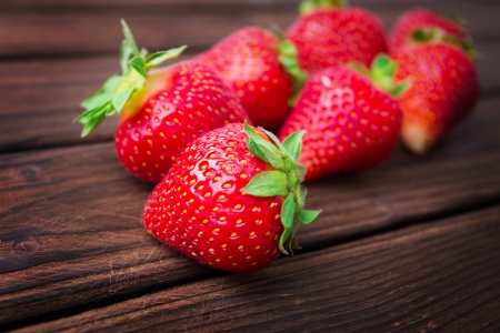 strawberries on wooden plate