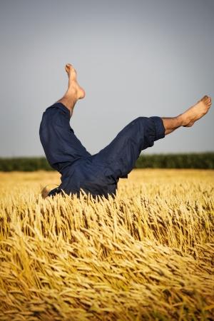 piernas hombre: Piernas del hombre en el campo de trigo