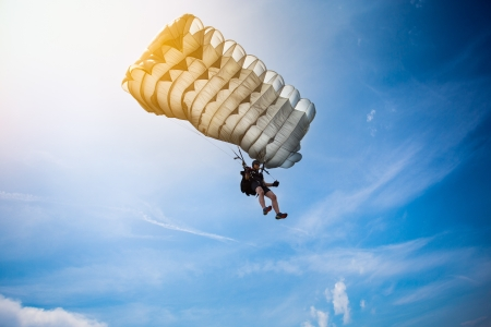 parachute jump: Parachutist Stock Photo