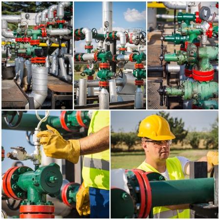 Industriële collage toont werknemers op het werk Stockfoto