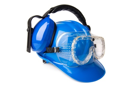 blue helmet with ear protectors and fathers photo
