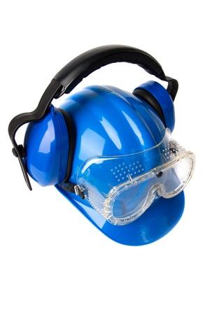 blauwe helm met oorbeschermers en vaders
