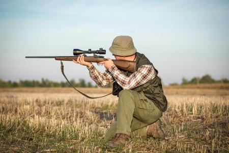 Hunter avec le fusil Banque d'images