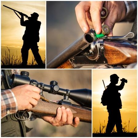 wild dog: Hunter hunting collage Stock Photo