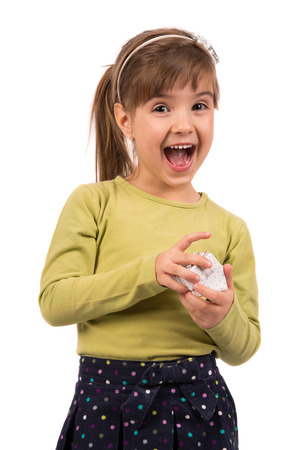 little girl surprised: Little Girl with gift