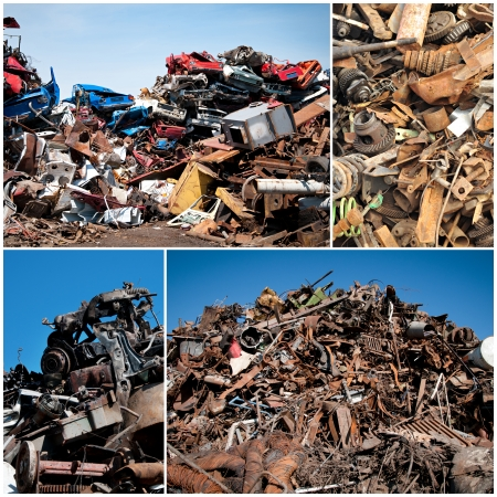 discarded metal: Scrap yard collage