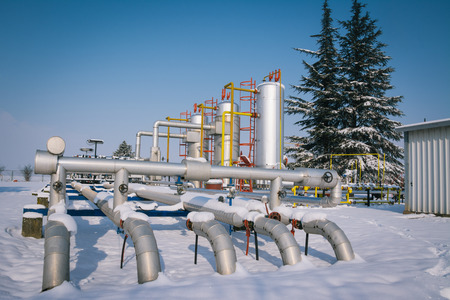Winter oil and gas industry 免版税图像 - 26514242