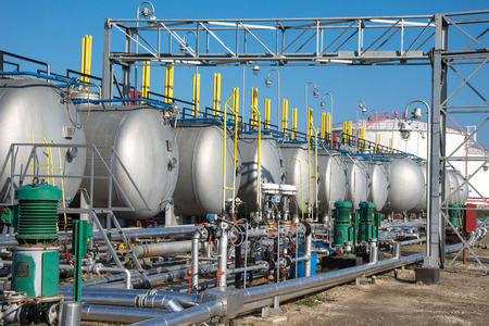 chemical industry: gas tanks  for petrochemical plant