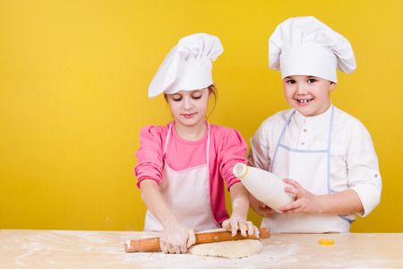 Cheerful children cook pizza photo