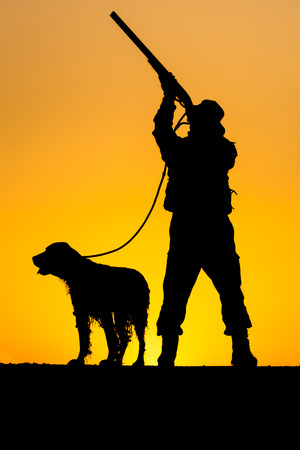 hunters: Silhouette of the hunter with a dog Stock Photo