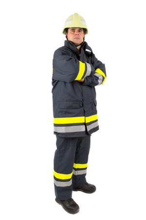 protective suit: Fireman in uniform isolated in white