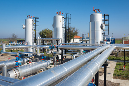 gas pipe: oil and gas processing plant Stock Photo