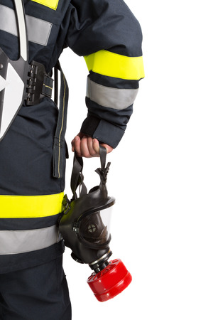 protective suit: Firefighter with mask and protective suit Stock Photo