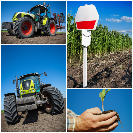 furrow: Agriculture collage Stock Photo