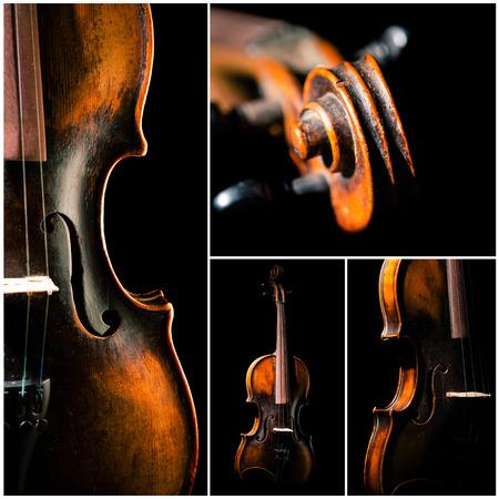 instruments: Vintage violin on black background