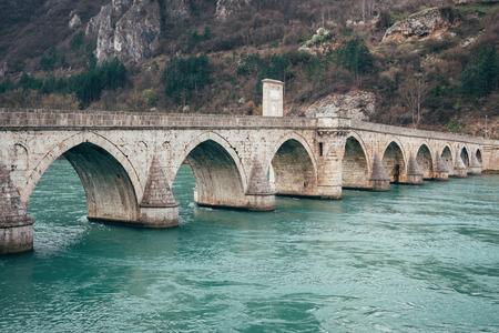 visegrad: Old bridge in Visegrad on Drina river