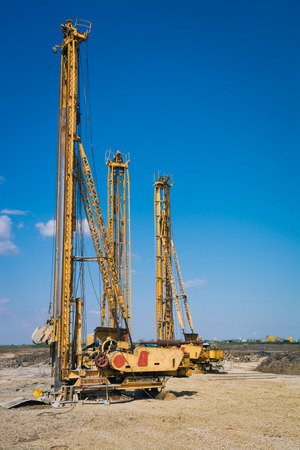 piling: Pile driving machine in construction site
