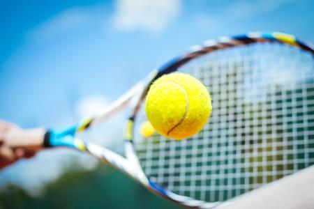 Tennisser het spelen van een wedstrijd Stockfoto