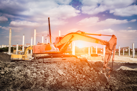 construction site: Excavator in action