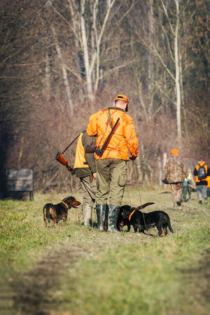 hunters: Hunter with dog Stock Photo