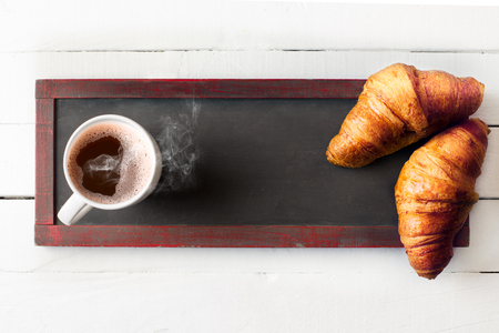 morning coffee: Breakfast with croissants Stock Photo
