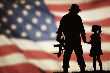 American soldier and little girl silhouette