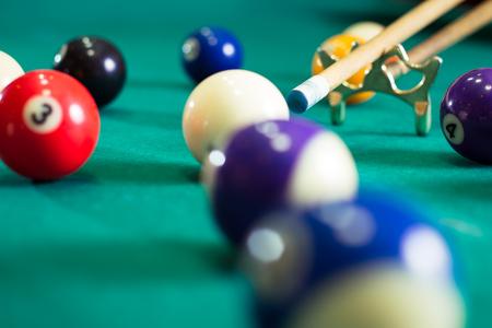 billiards halls: Billiard balls in a pool table Stock Photo