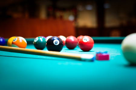 snooker halls: Billiard balls in a pool table Stock Photo