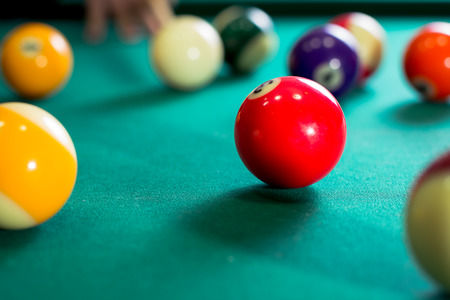 snooker hall: Billiard balls in a pool table Stock Photo