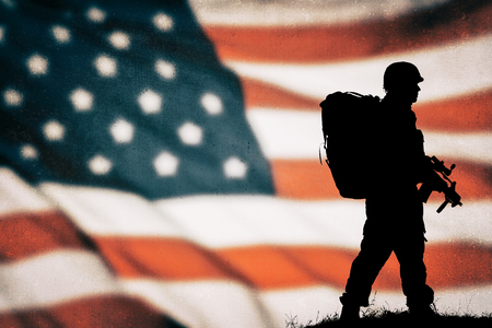 soldier silhouette: American soldier  silhouette Stock Photo