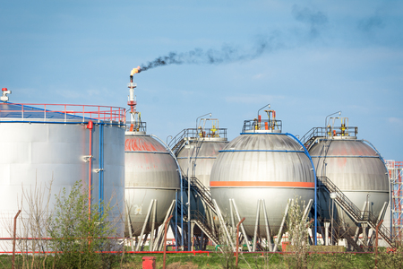 petrochemical plant: Petrochemical plant oil tanks Editorial