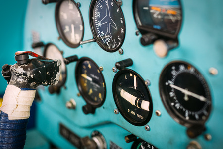 avionics: Airplane cockpit Stock Photo