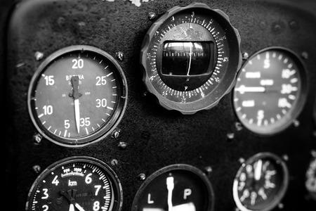 altimeter: Airplane cockpit Stock Photo