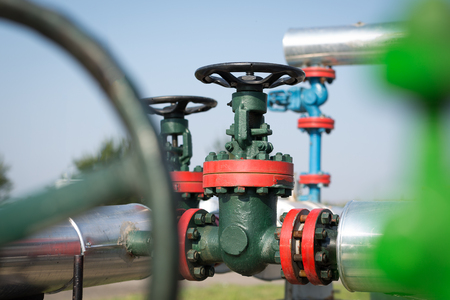 pipe line: Oil and gas pipe line valves Stock Photo