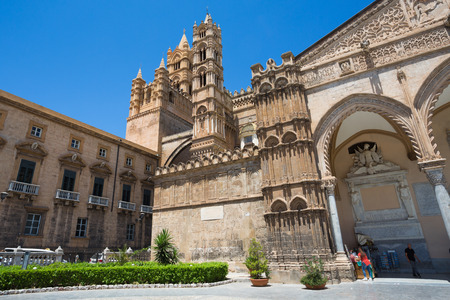 palermo: Cathedral of Palermo on the blue sky Stock Photo