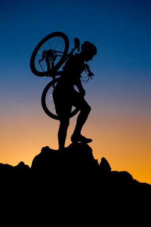 mountain biker: Mountain biker silhouette Stock Photo