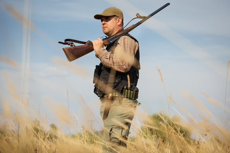 Male hunter in the woods
