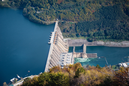 hydroelectric power plant on the mountain river 스톡 콘텐츠