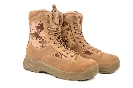 Desert brown canvas combat boots, isolated