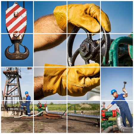 Oil And Gas Industry. Industrial. Manufacturing photo collage Stock Photo